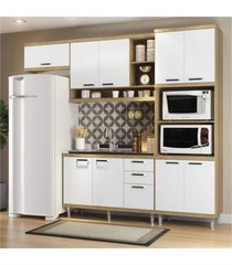 cozinha compacta completa multimã³veis com 4 peã§as sicãlia 5828 argila/branco - bege/incolor - dafiti
