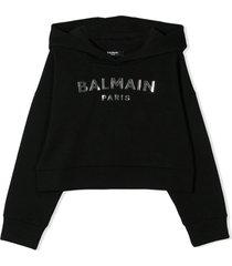 balmain black cotton logo print hoodie