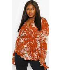 plus floral wrap blouse, rust