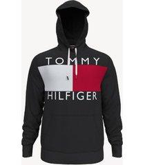 tommy hilfiger men's essential logo hoodie black - l