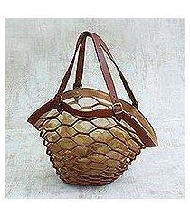 leather shoulder bag, 'nutmeg sambura' (16 inch) (brazil)