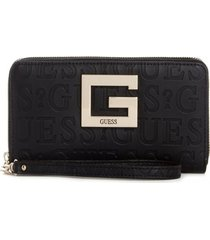 billetera brightside slg lrg zip around bla negro guess