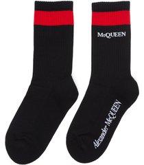mid calf contrast stripe logo print socks