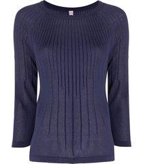 antonio marras ribbed 3/4 sleeves pullover - blue