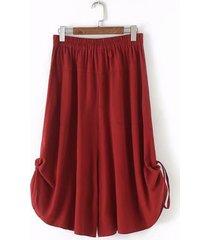 pantaloni di cotone tinta unita in vita elastica casual allentati