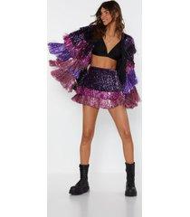 womens party crasher multicolored fringe shorts - pink