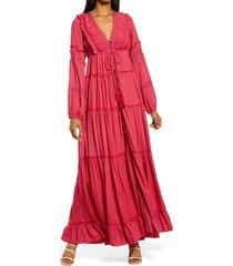 women's area stars ali tiered ruffle long sleeve maxi dress, size x-small - red