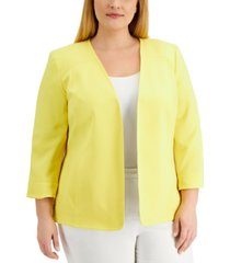 kasper plus size long sleeve flyaway jacket