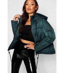 hooded padded jacket, teal
