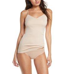 women's hanro seamless v-neck cotton camisole, size medium - beige
