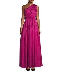 cutout one-shoulder silk gown