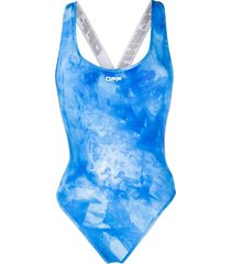 off-white tie dye cross swimsuit all over white - blue