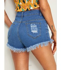 pantalones cortos de mezclilla de cintura media con botones azules