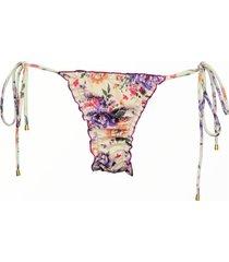 calcinha due pezzi ripple floral roxo - bege - feminino - dafiti