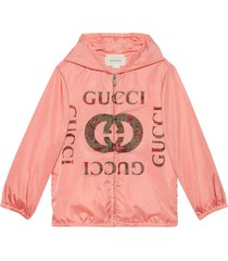 gucci pink lightweight jacket with hood and print