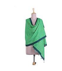 cotton shawl, 'emerald keys' (india)