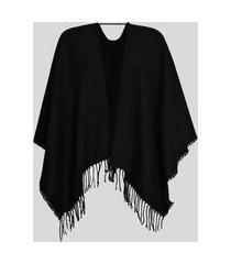 poncho kimono de tricô com franjas preto