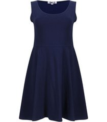 vestido hombro ancho unicolor color azul, talla l