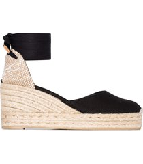 castañer carina ankle-tie wedge sandals - black