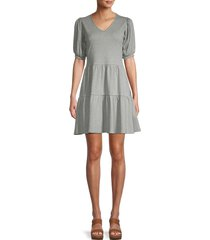 saks fifth avenue women's puff-sleeve tiered dress - white - size m