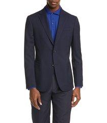 men's z zegna trim fit plaid stretch wool sport coat, size 48 us / 58 eur - blue