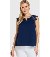 blusa sin mangas con cuello de pico adornado de encaje de crochet azul marino