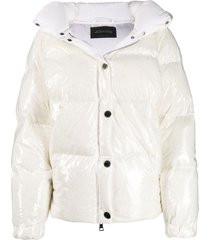 goose tech patent hooded padded coat - white