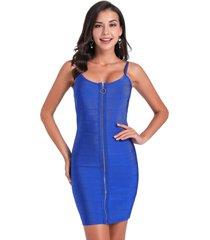 vestido ajustado cierre frontal azul nicopoly