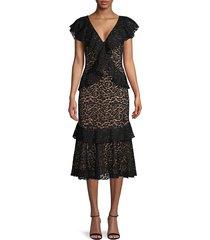 michael kors collection women's lace cotton-blend sheath dress - black - size 4