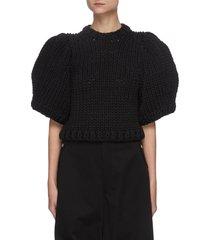 balloon sleeve crochet crop sweater