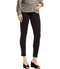 women's 7 for all mankind b(air) high waist ankle skinny maternity jeans, size 34 - black