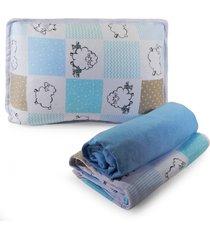 jogo de cama berço sulbrasil em malha 3 peças - ovelhinha azul