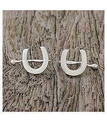 sterling silver ear cuffs, 'horseshoe luck' (thailand)