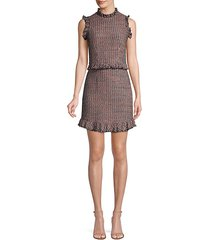 tweed ruffle sheath dress