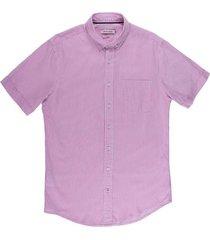 camisa casual manga corta rayas bicolor slim fit para hombre 02336