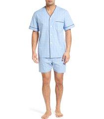 men's majestic international cotton short pajamas, size small - blue