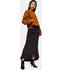 tall indigo floral print trumpet skirt - indigo