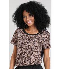 blusa feminina com estampa animal print manga curta decote redondo bege