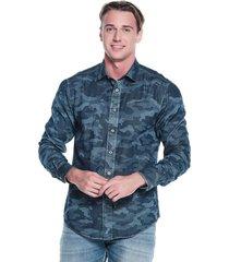 camisa slim camuflada azul medio