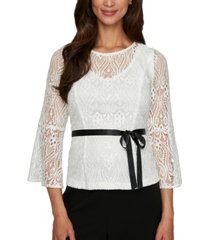 alex evenings petite illusion lace top