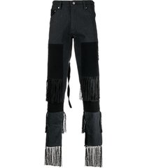 youths in balaclava tassel-trim straight leg jeans - black