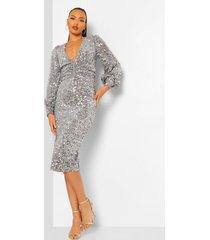 tall midi jurk met pailletten, ballonmouwen en laag decolleté, silver