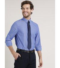 camisa masculina comfort listrada com bolso manga longa azul