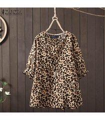 zanzea camisa casual con estampado floral de 1/2 manga para mujer blusa con cuello redondo tallas grandes -marrón