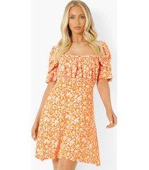 bloemenprint skater jurk met vierkante hals, orange