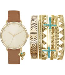 jessica carlyle women's cognac faux leather strap watch 36mm gift set