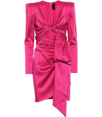 satin long-sleeve cut-out dress
