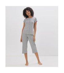 pijama manga curta poá com abertura total | lov | cinza mescla | p