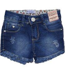 bermuda jeans shorts garota lua   azul - azul - menina - dafiti