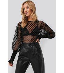 trendyol polka dot detailed tulle blouse - black